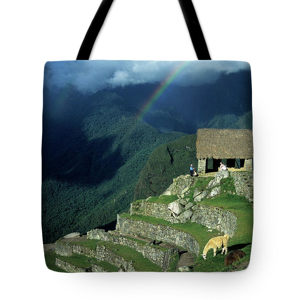 Machu Picchu Tote Bag featuring the photograph Llama And Rainbow At Machu Picchu by James Brunker