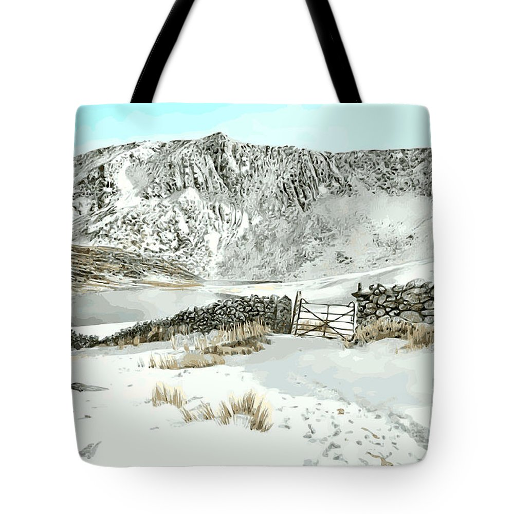 Snow Tote Bag featuring the painting Llyn Cwm Silyn by Alwyn Dempster Jones