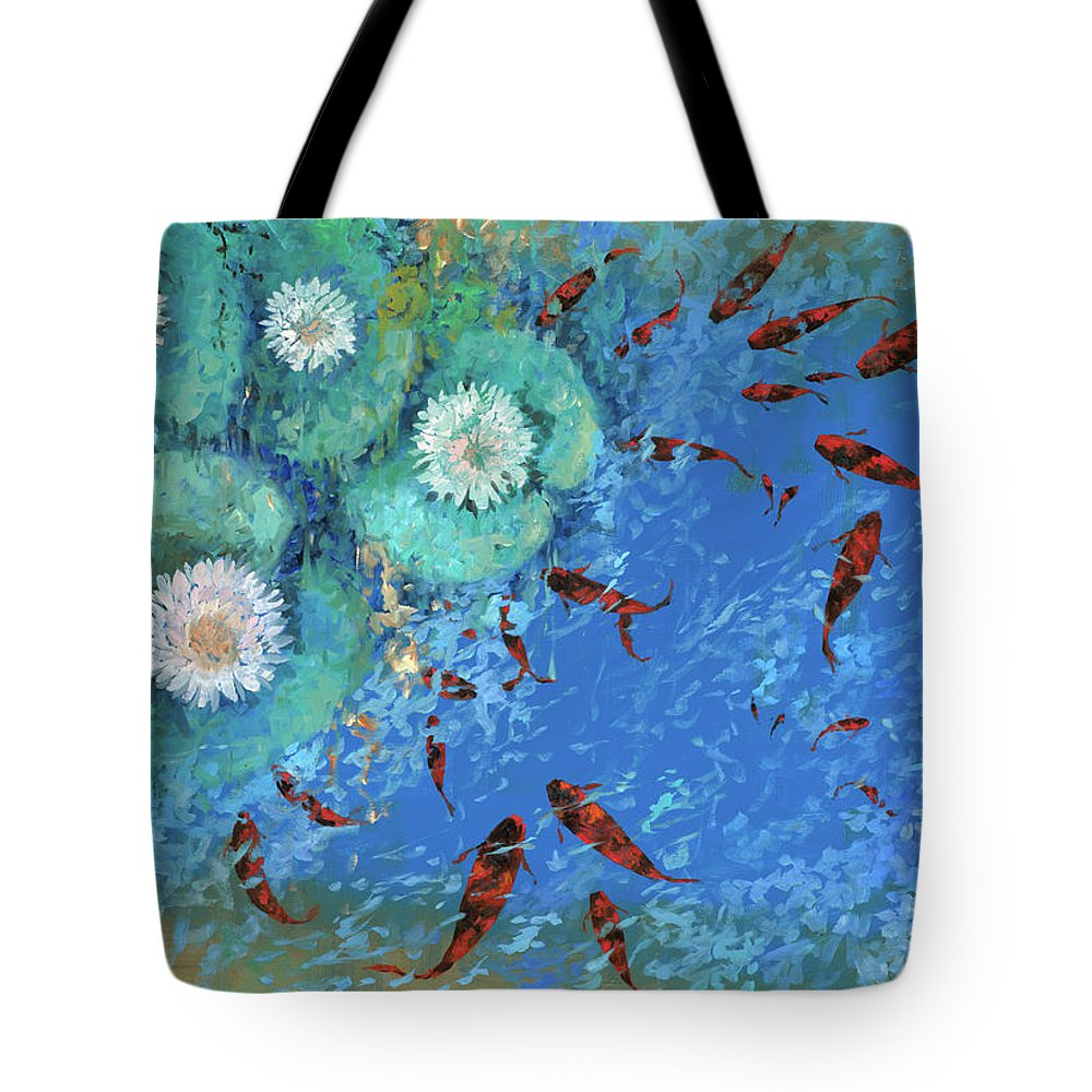 Fishscape Tote Bag featuring the painting Lo Stagno by Guido Borelli
