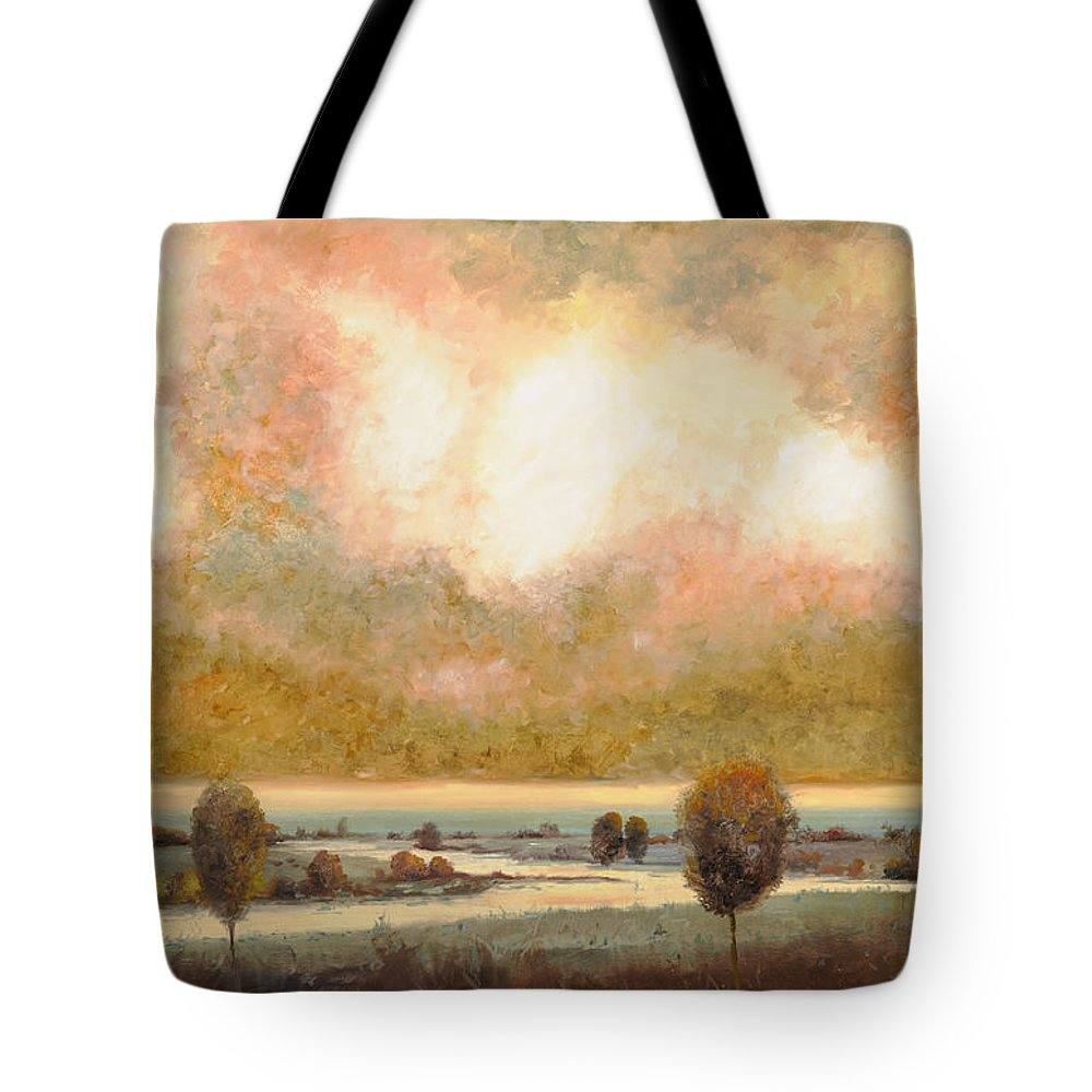 Pond Tote Bag featuring the painting Lo Stagno Sotto Al Cielo by Guido Borelli