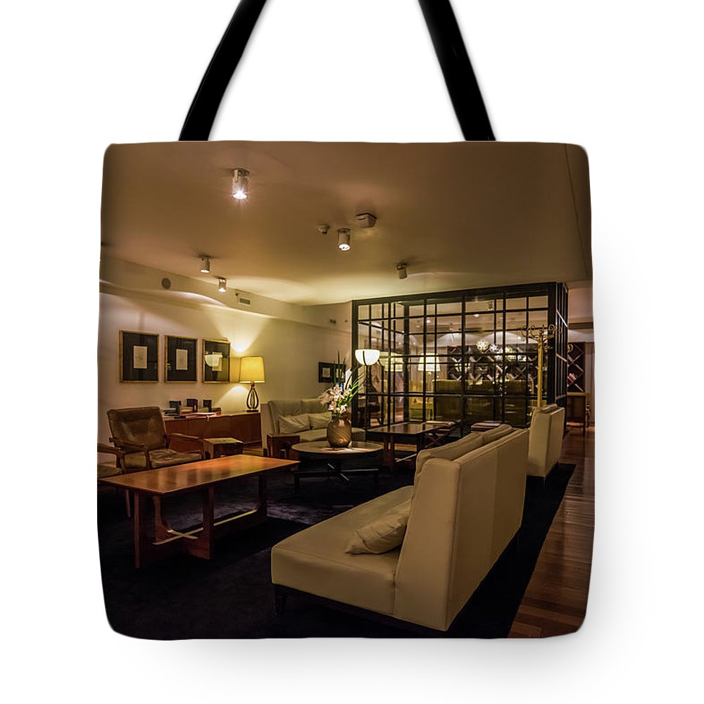 Argentina Tote Bag featuring the photograph Lobby Of Hotel With Chairs And Tables by Ndp
