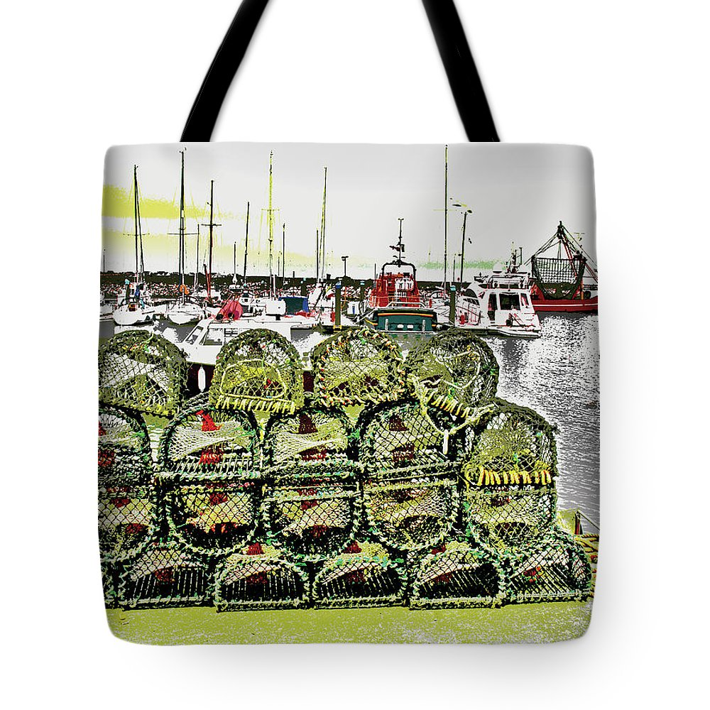 Boats Tote Bag featuring the digital art Lobster Pots Kilmore Quay, Wexford, Ireland Poster Effect 1b by Zsuzsanna Szabo