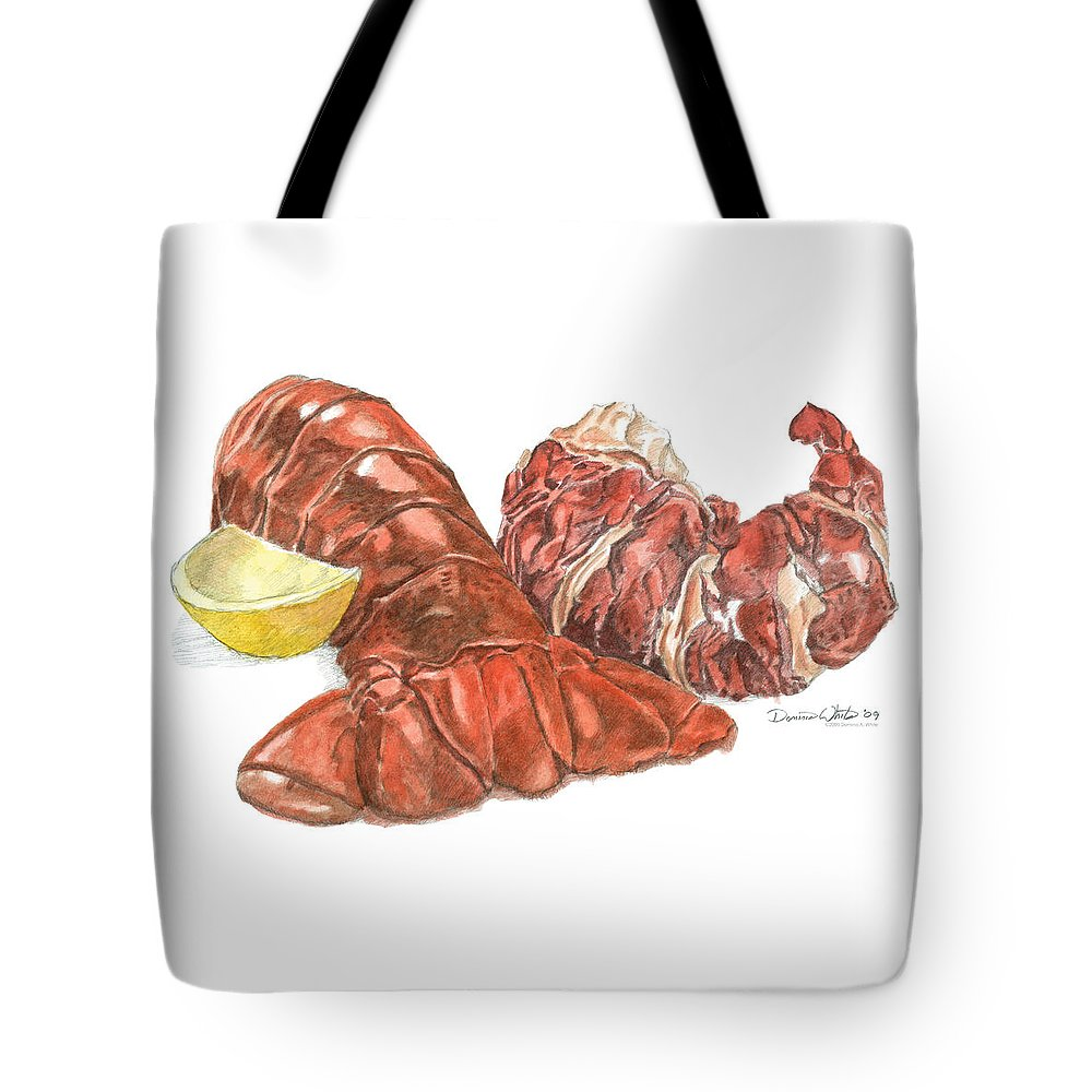 Lobster Tote Bag featuring the painting Lobster Tail And Meat by Dominic White