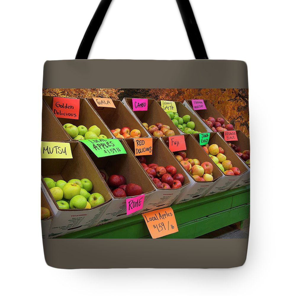 Apples Tote Bag featuring the photograph Local Apples For Sale by Mitch Spence