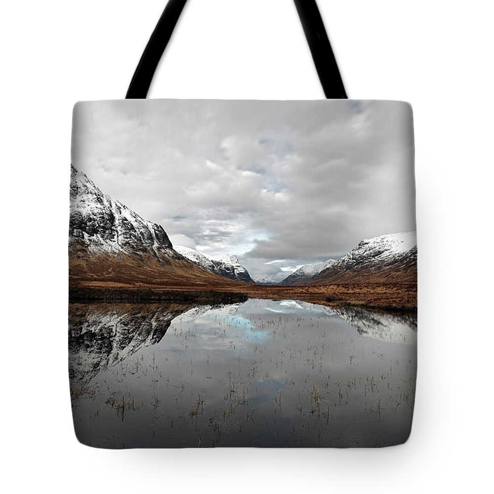 Lochan Na Fola Panorama Tote Bag featuring the photograph Lochan Na Fola Panorama by Grant Glendinning