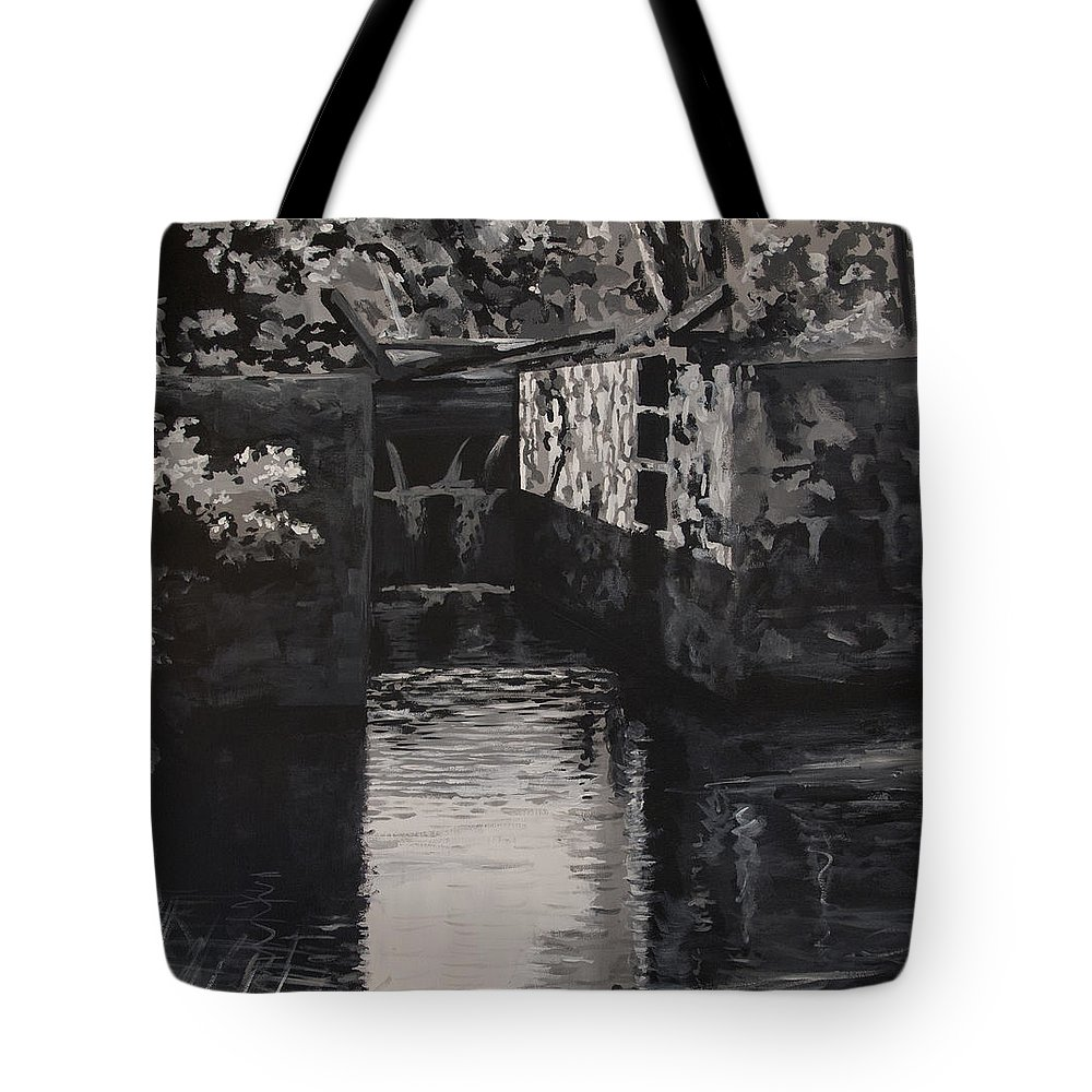 Realism Tote Bag featuring the painting Lock 17 by Don Perino
