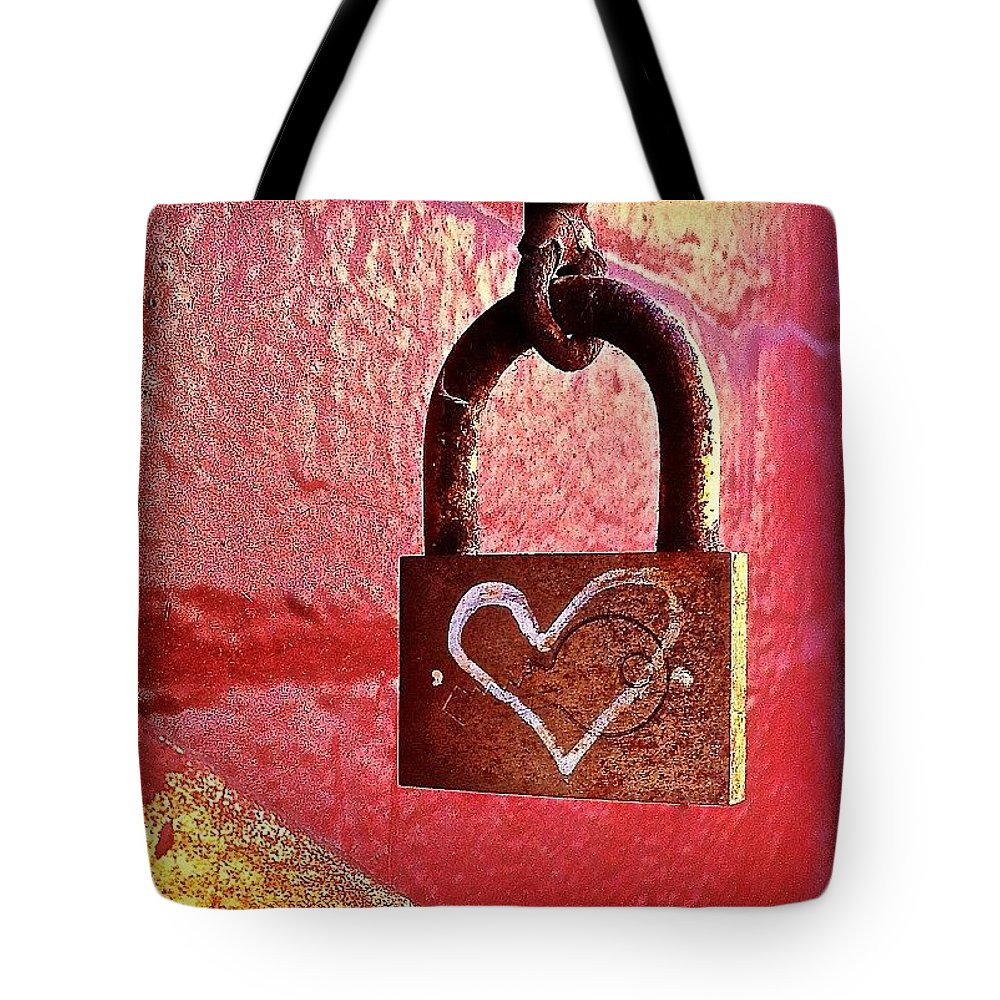 Lock Tote Bag featuring the photograph Lock/heart by Julie Gebhardt