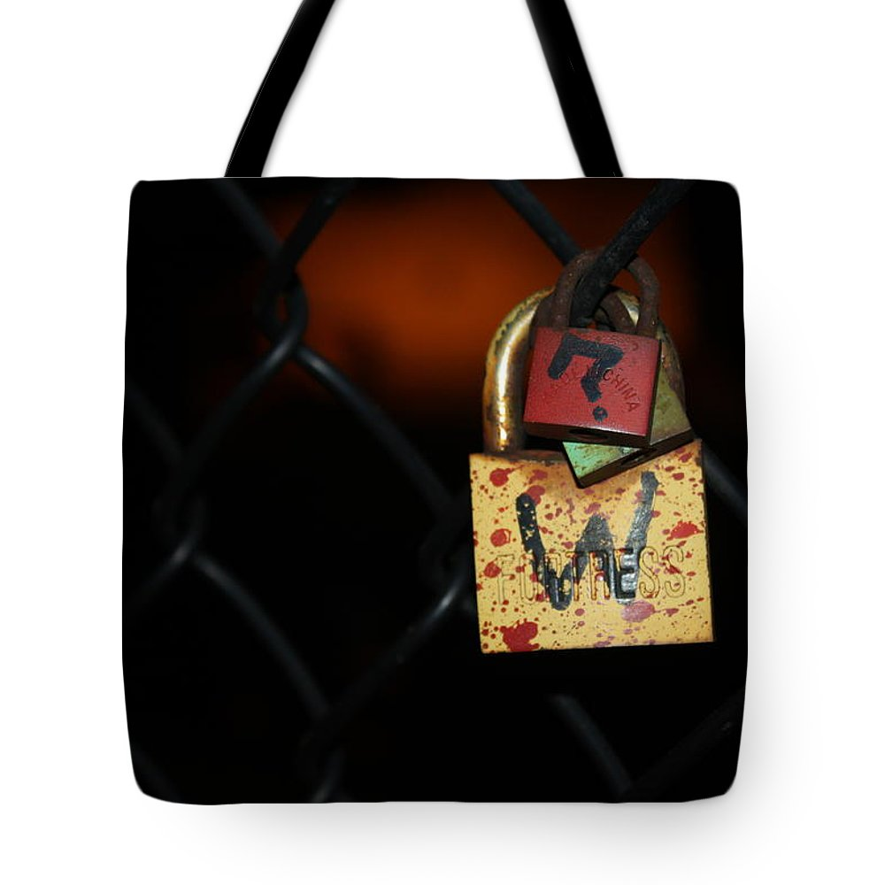 Lock Tote Bag featuring the photograph Locked Questions by Lauri Novak