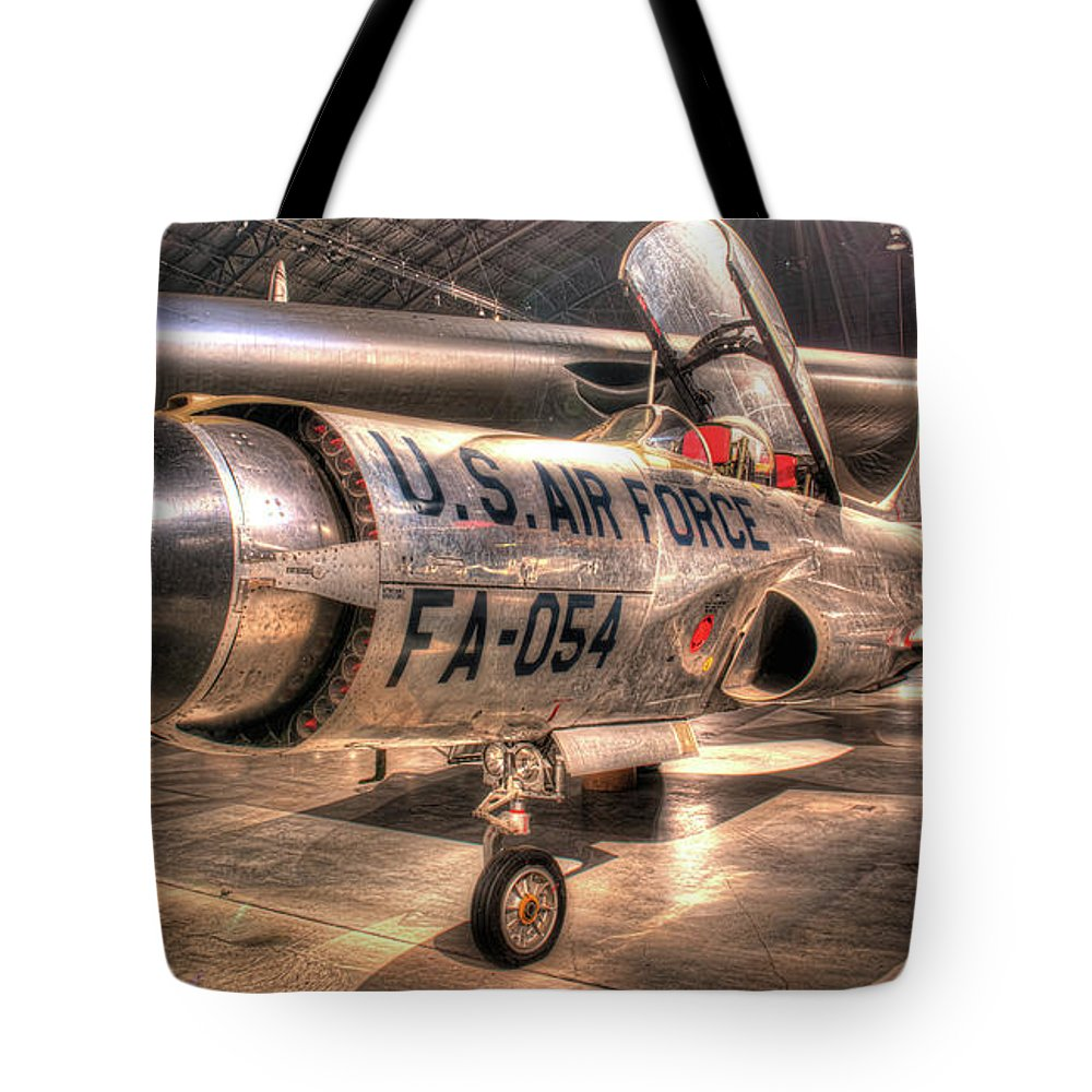 Dayton Tote Bag featuring the photograph Lockheed F-94 Model C Starfire by Greg Hager