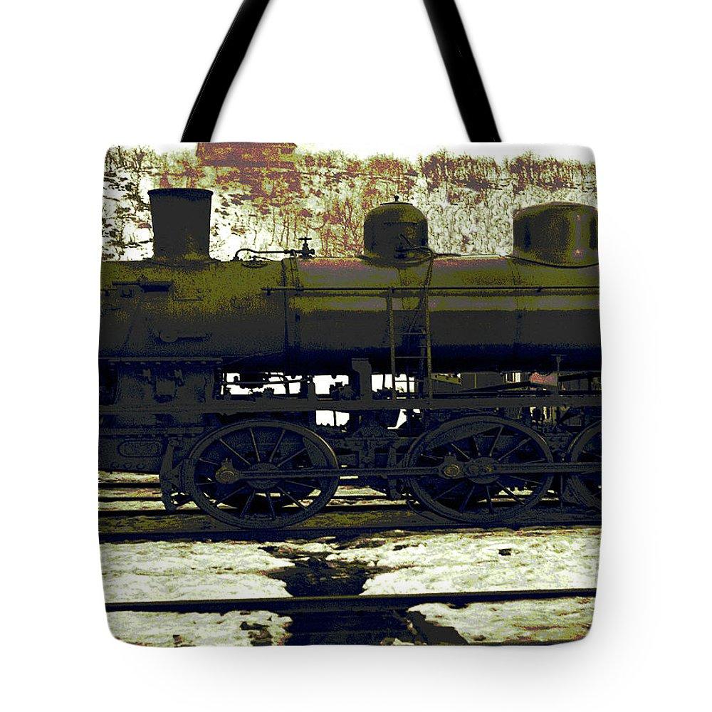 Locomotive Tote Bag featuring the digital art Locomotive Vector by Zsuzsanna Szabo