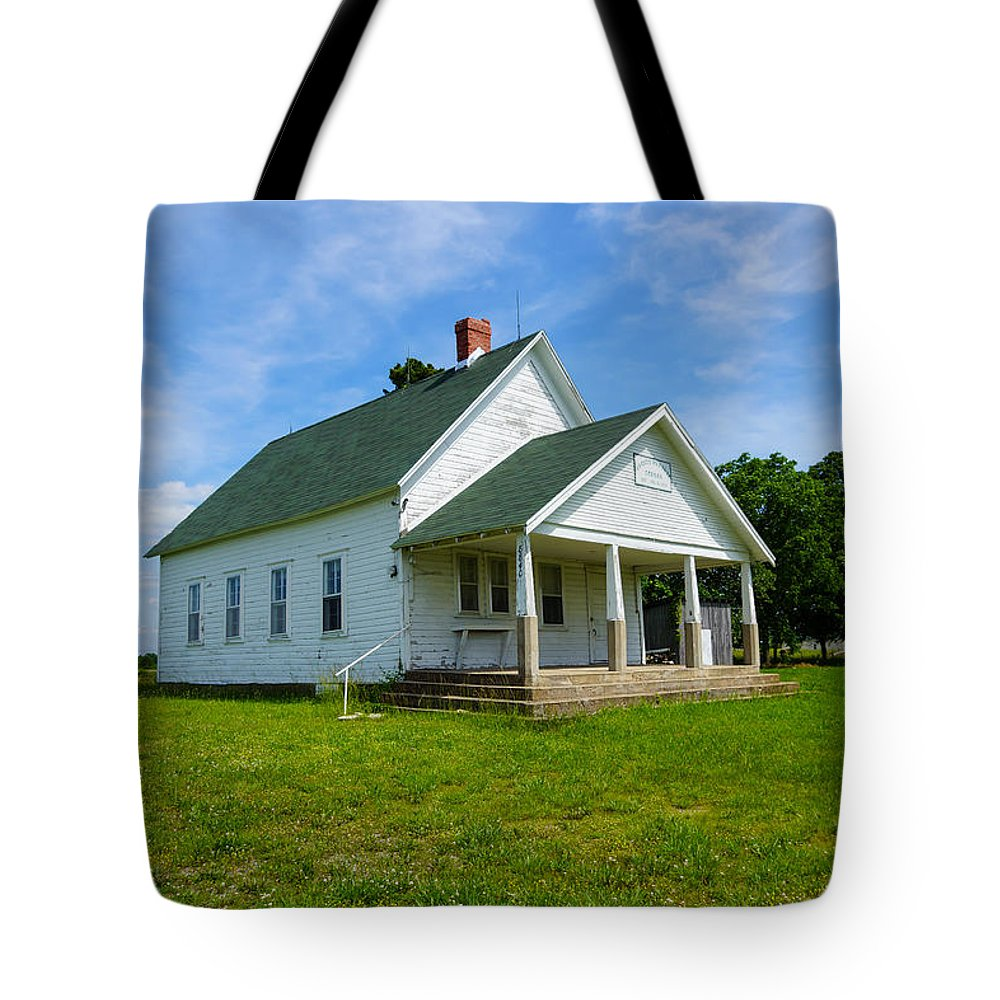 Aged Tote Bag featuring the photograph Locust Prairie School by Jennifer White