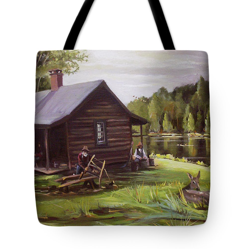 Log Cabin By The Lake Tote Bag featuring the painting Log Cabin By The Lake by Nancy Griswold