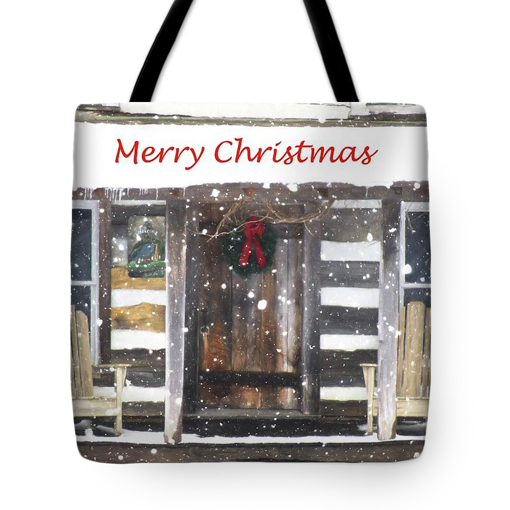 Christmas Tote Bag featuring the photograph Log Cabin Christmas by Benanne Stiens