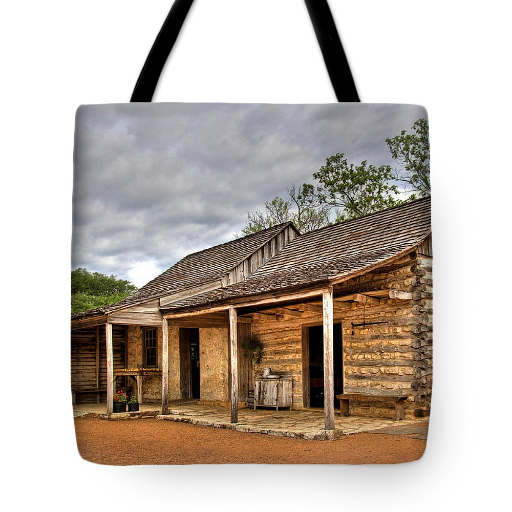 Architecture Tote Bag featuring the photograph Log Cabin In Lbj State Park by David and Carol Kelly