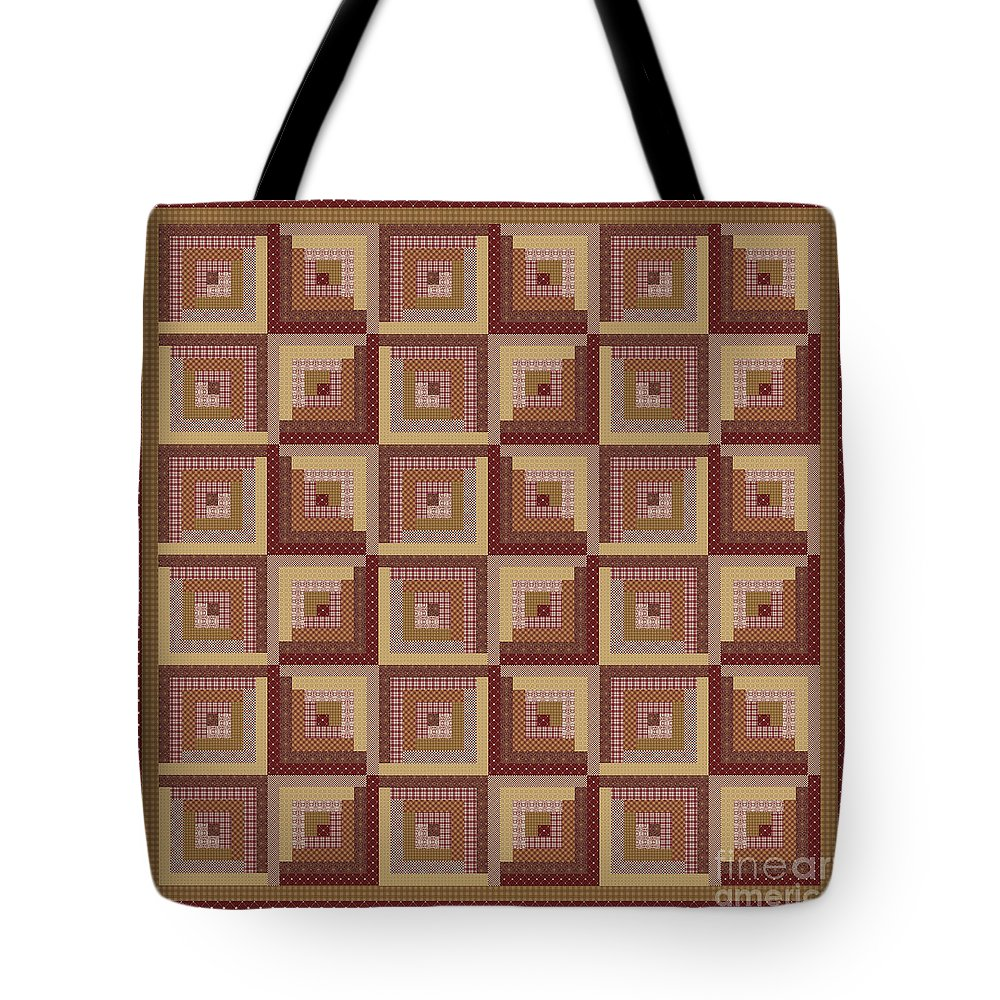 Quilt Tote Bag featuring the digital art Log Cabin Reds Quilt by Jean Plout