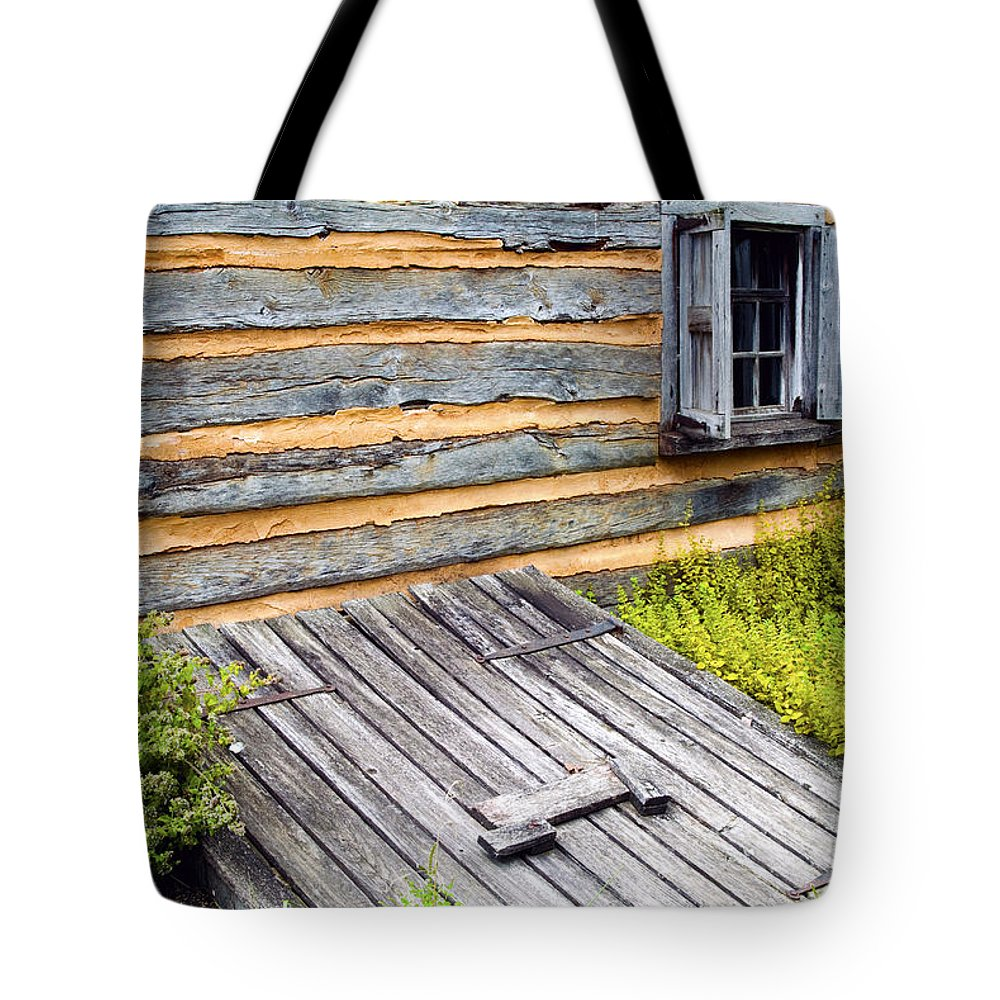 Log Cabin Tote Bag Featuring The Photograph Log Cabin Storm Cellar Door By  Paul W Faust