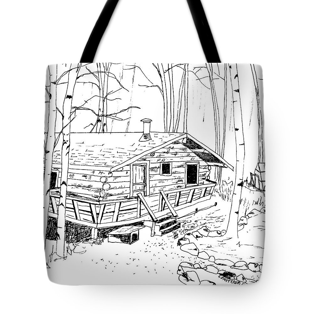 Houses Tote Bag featuring the drawing Log Home by Sarah Hamilton