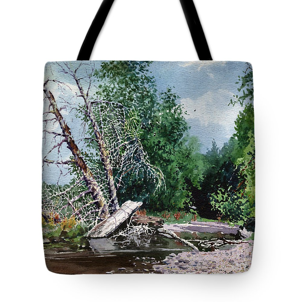Washington State Tote Bag featuring the painting Log Jam by Donald Maier