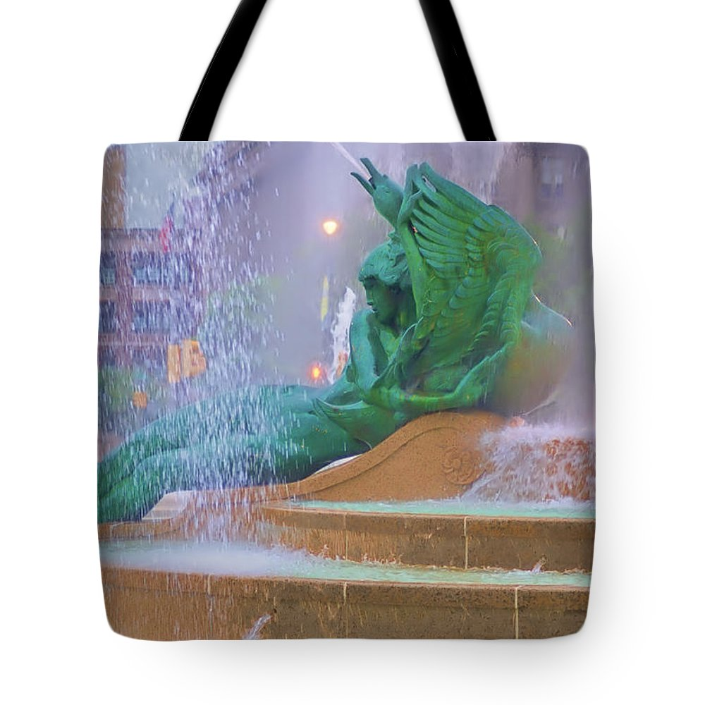 Fountain Tote Bag featuring the photograph Logan Circle Fountain 5 by Bill Cannon