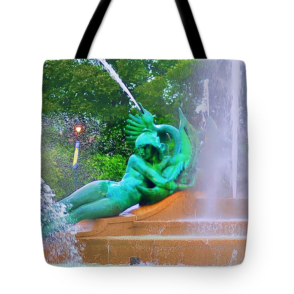 Fountain Tote Bag featuring the photograph Logan Circle Fountain 6 by Bill Cannon