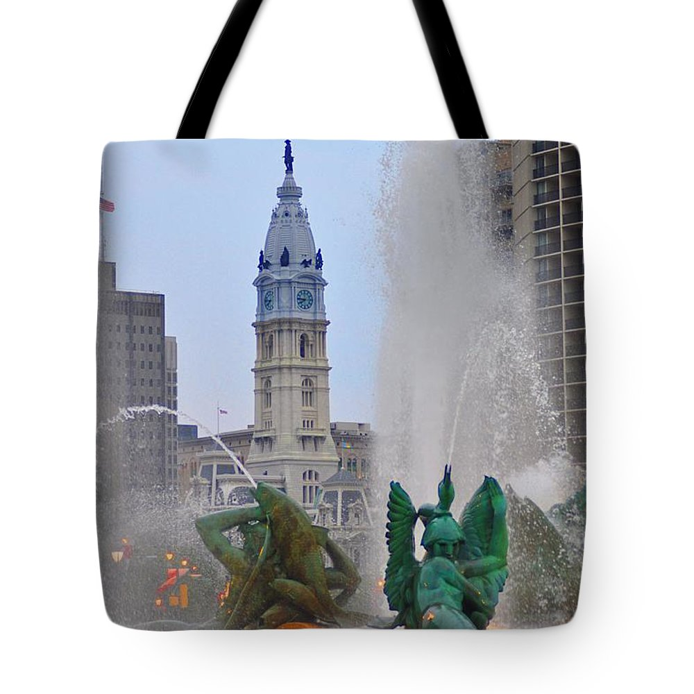 Fountain Tote Bag featuring the photograph Logan Circle Fountain With City Hall In Backround 2 by Bill Cannon