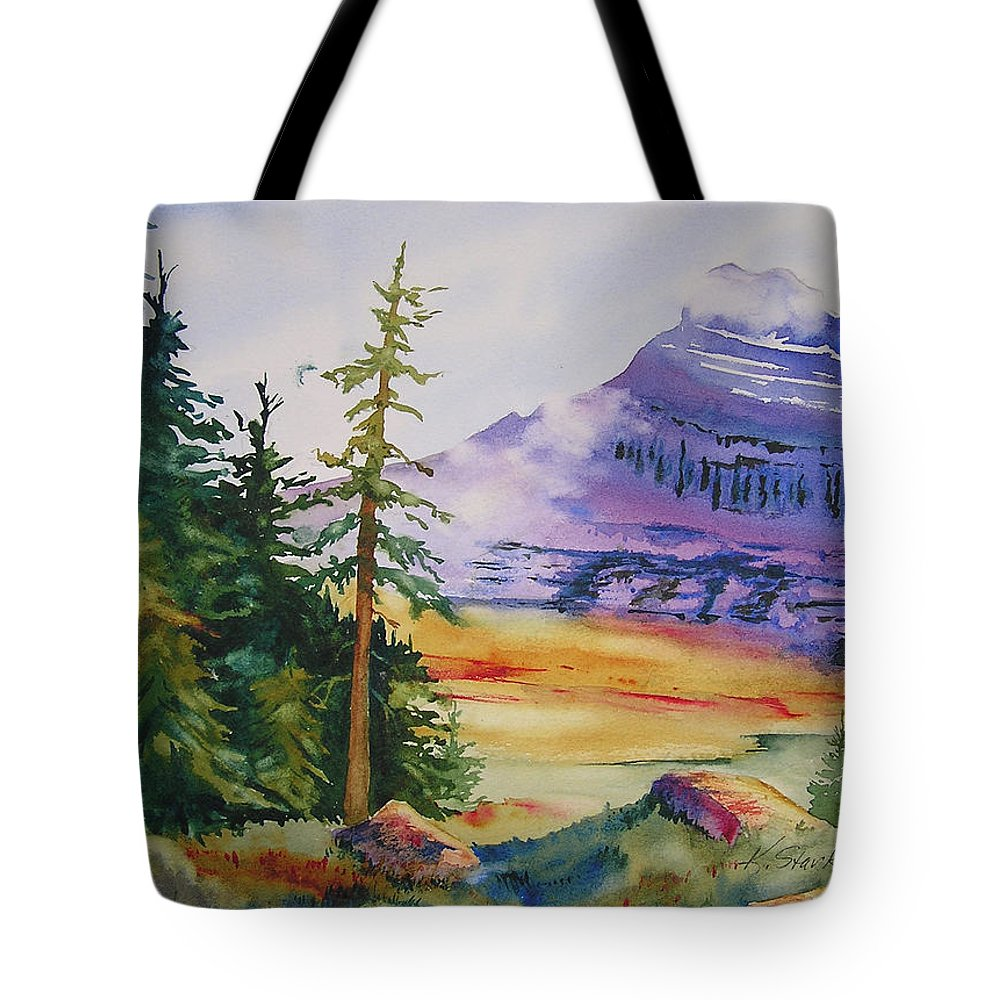 Landscape Tote Bag featuring the painting Logan Pass by Karen Stark