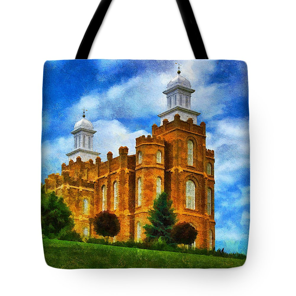 Temple Tote Bag featuring the painting Logan Temple 2 by Greg Collins
