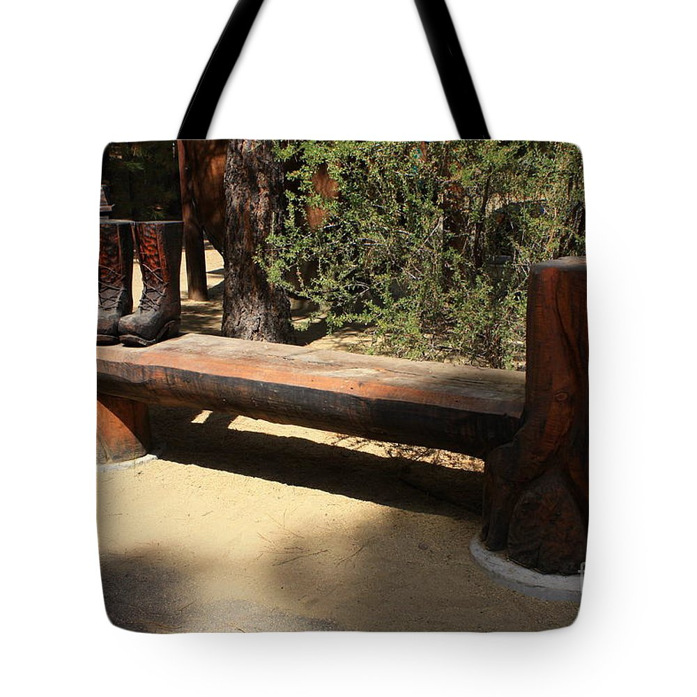 Oregon Tote Bag featuring the photograph Logger Bench In Oregon by Carol Groenen