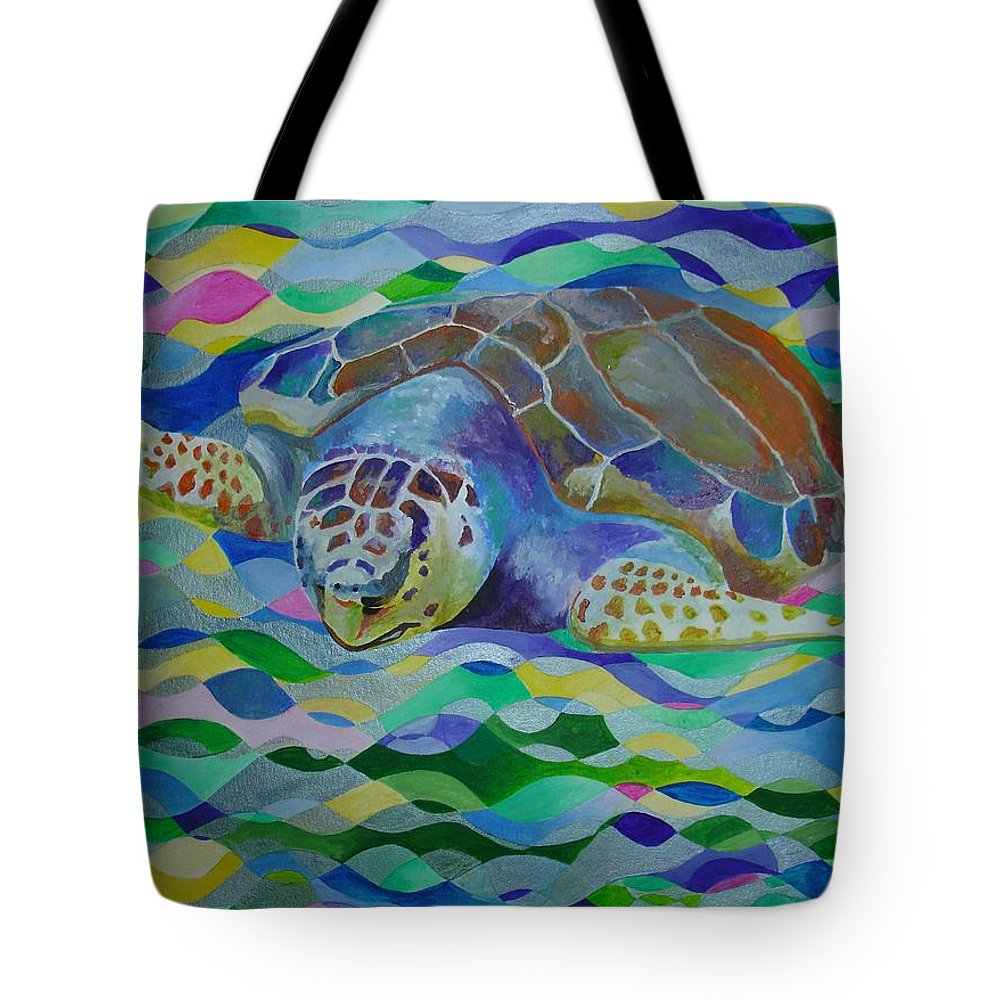 World Turtle Day Tote Bag featuring the painting Loggerhead Turtle by Tracey Harrington-Simpson