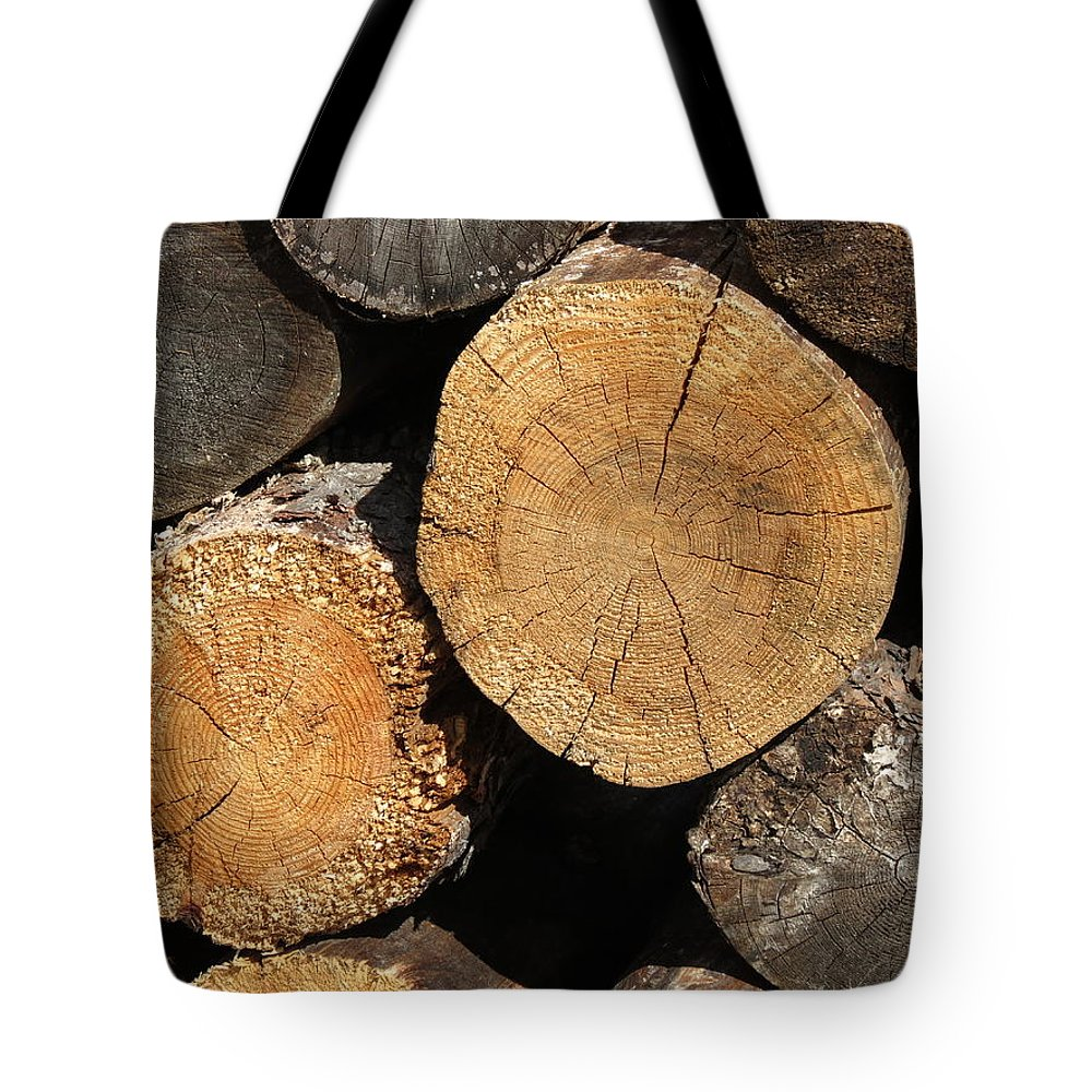 Log Tote Bag featuring the photograph Logs by Creations by Shaunna Lynn