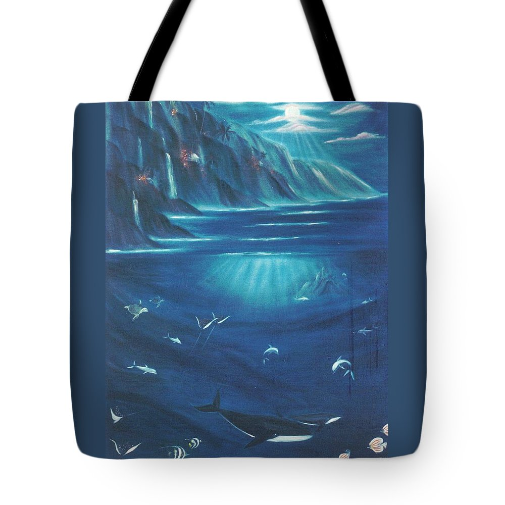 Seascape Tote Bag featuring the painting Loihi Rising by Dina Holland