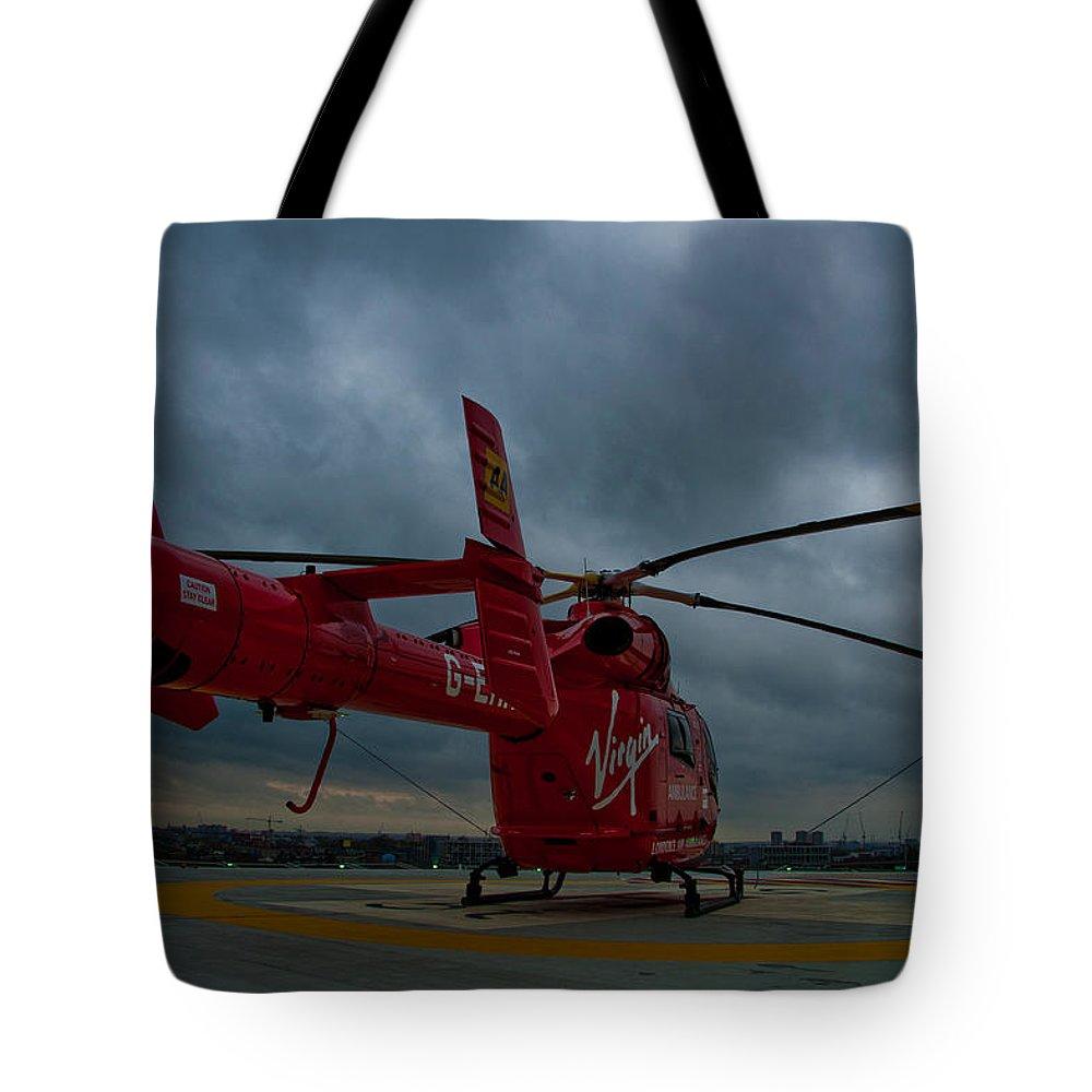 Air Ambulance Tote Bag featuring the photograph London Air Ambulance by Dawn OConnor