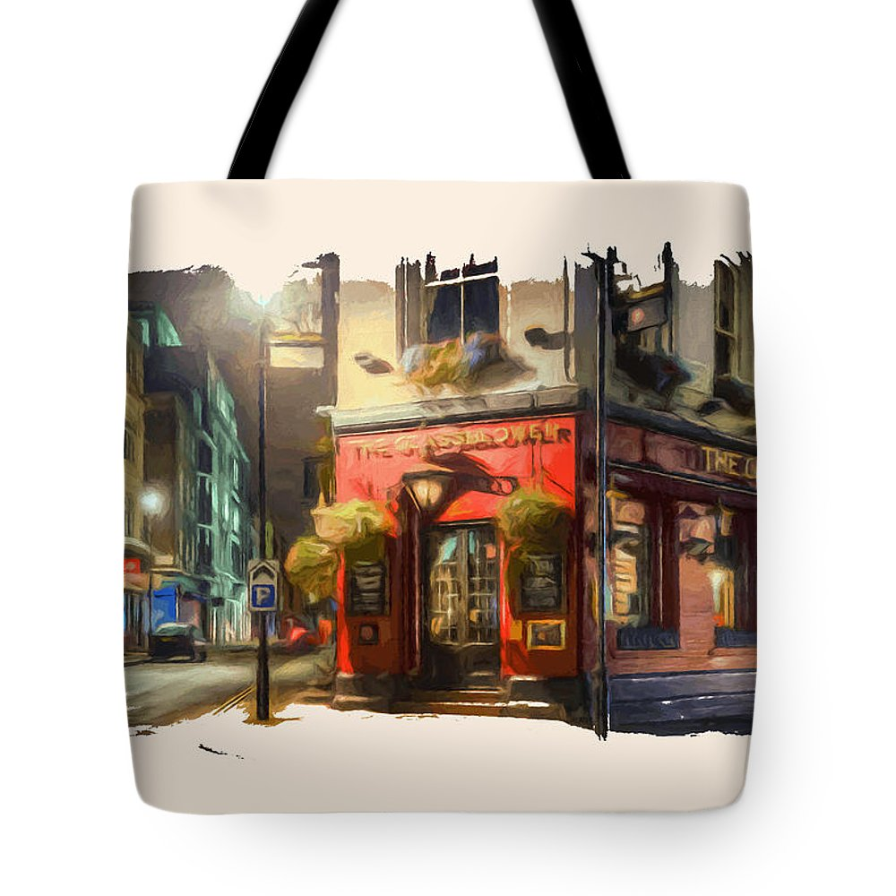 Landscape Tote Bag featuring the digital art London Cafe Pf by Ronald Bolokofsky