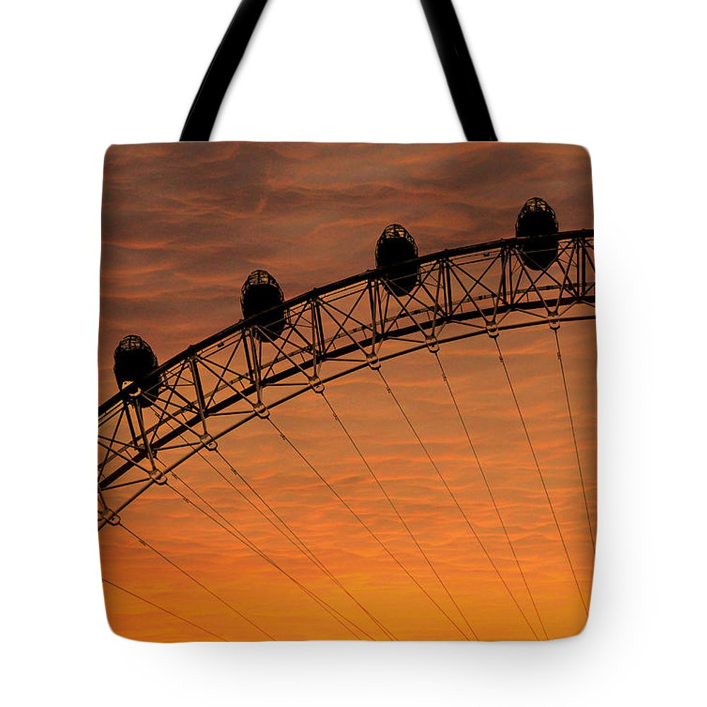 Landscape Tote Bag featuring the photograph London Eye Sunset by Martin Newman