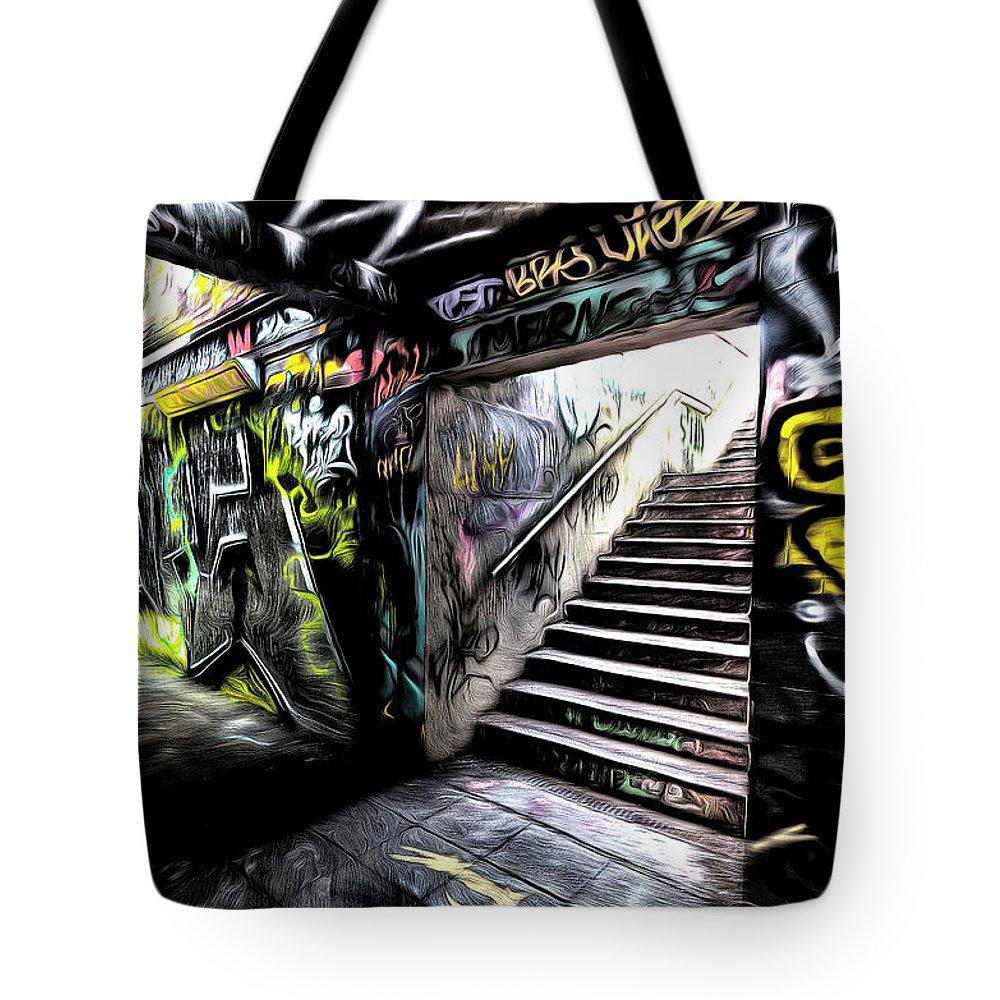 Graffiti Sketch Tote Bag featuring the photograph London Graffiti Art by David Pyatt