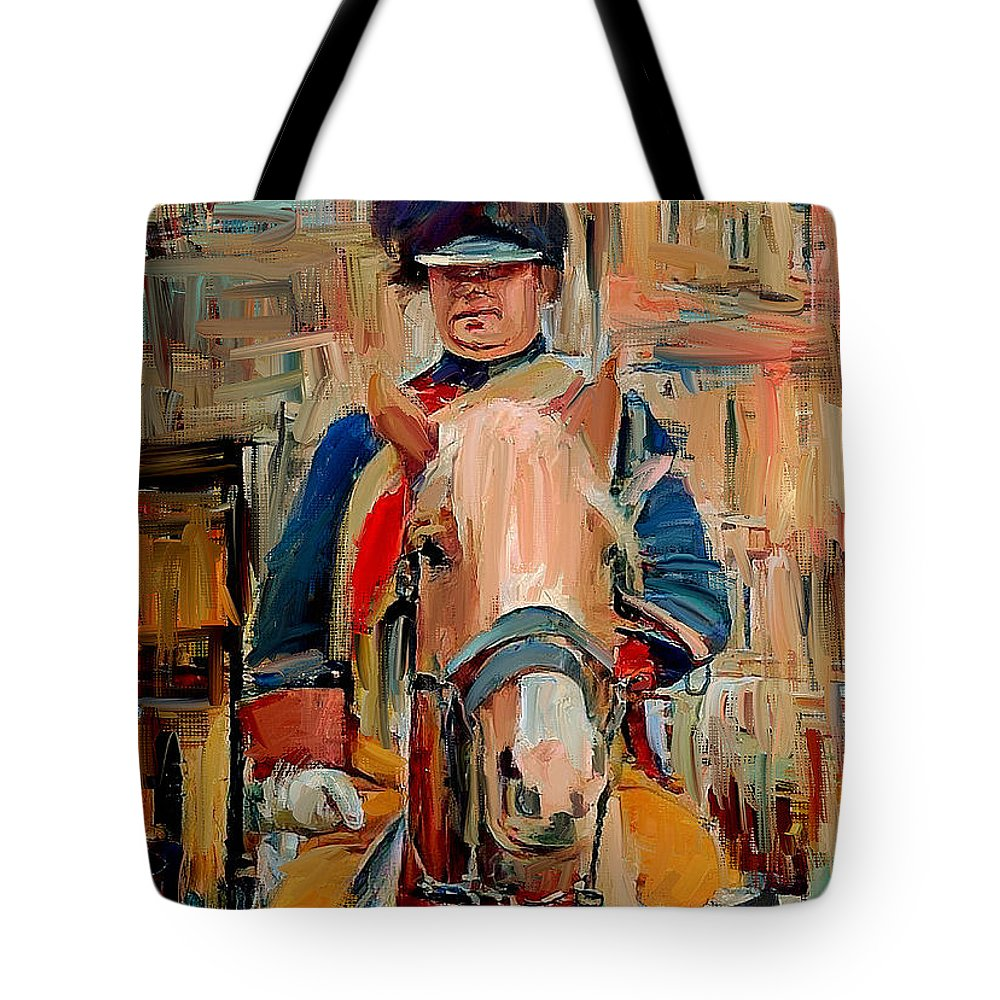 London Tote Bag featuring the digital art London Guard On Horse by Yury Malkov