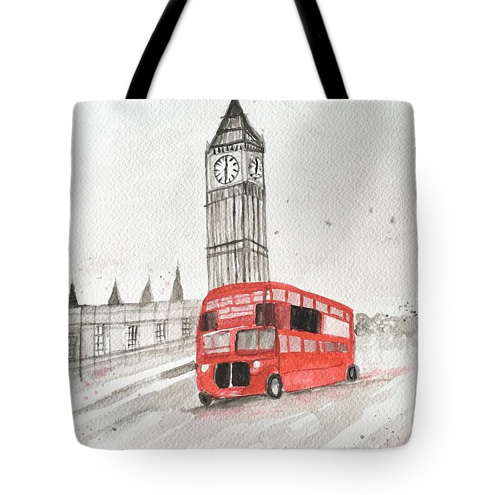London Print Tote Bag featuring the painting London Red Bus by Monika Howarth