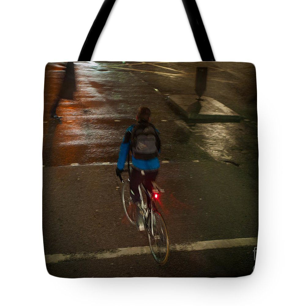 Tags Tote Bag featuring the pyrography London Streets In Cold Whether . by Cyril Jayant