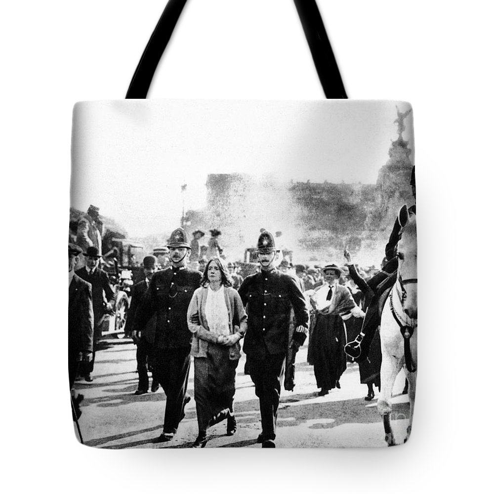 1914 Tote Bag featuring the photograph London Suffragettes, 1914 by Granger