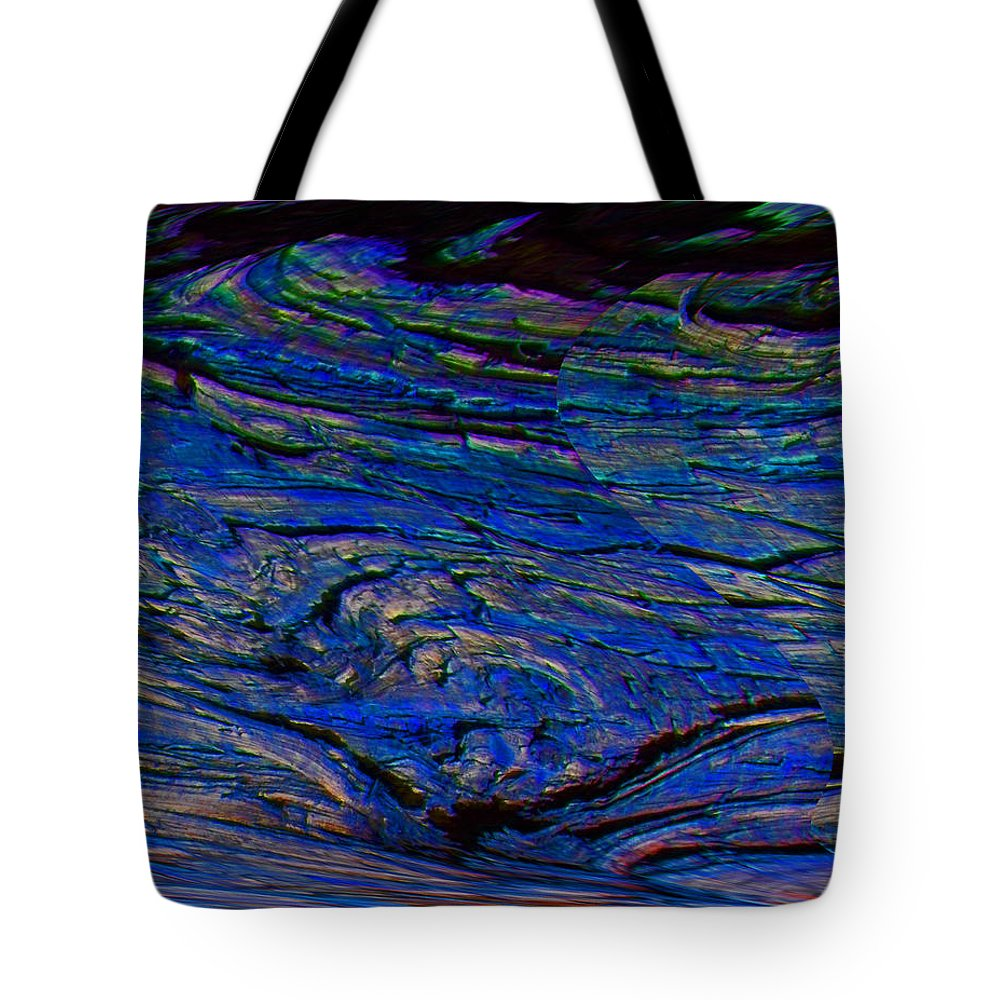 Abstract Tote Bag featuring the digital art Lone Bird Over Night Ocean by Lenore Senior