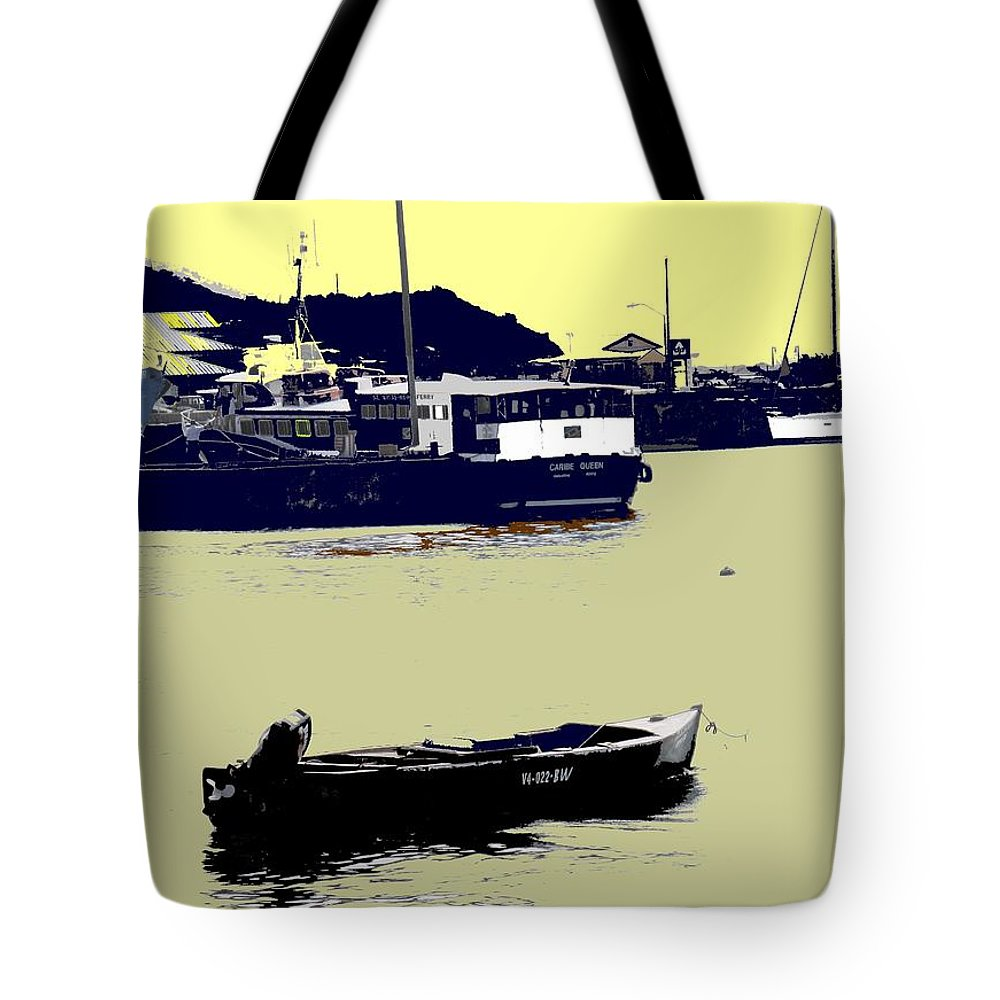 St Kitts Tote Bag featuring the photograph Lone Boat by Ian MacDonald