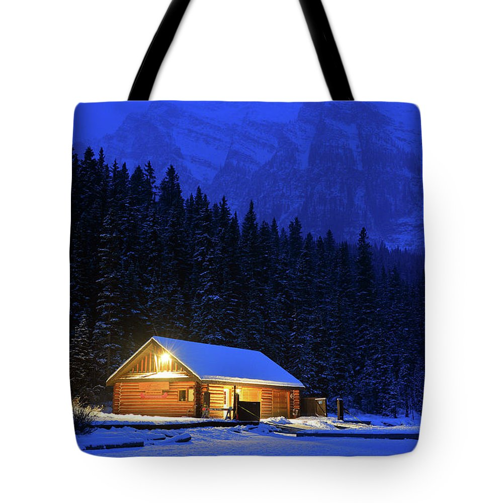 Banff Tote Bag featuring the photograph Lone Cabin In The Rockies by James Kirkikis