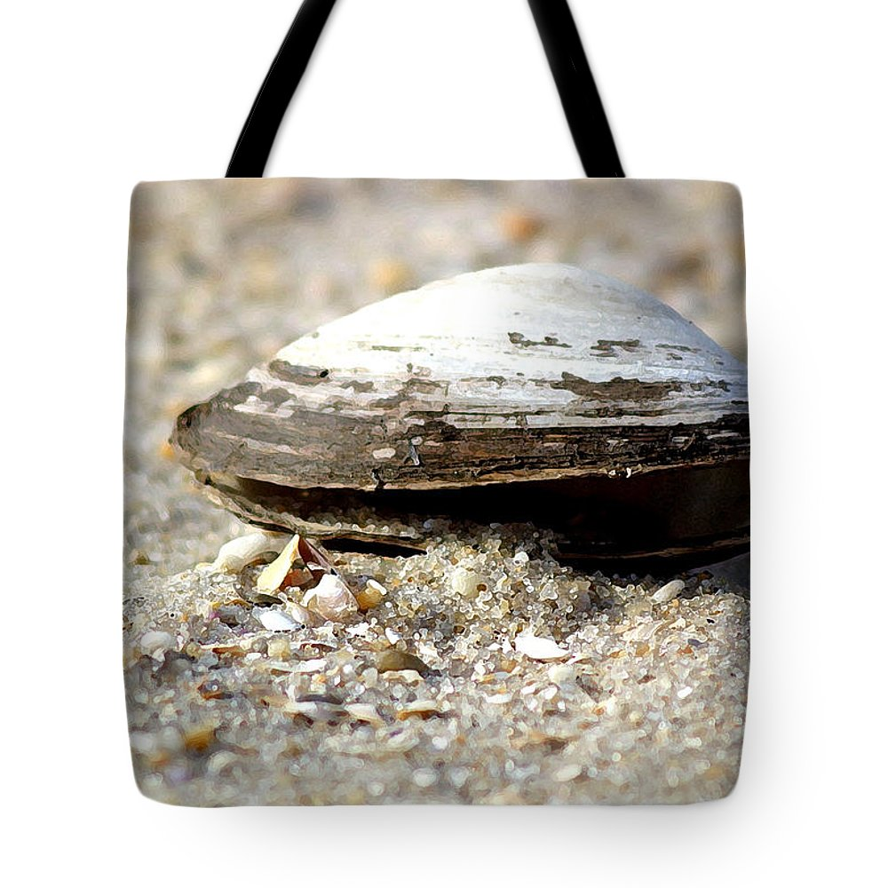 Shells Tote Bag featuring the photograph Lone Clam by Mary Haber