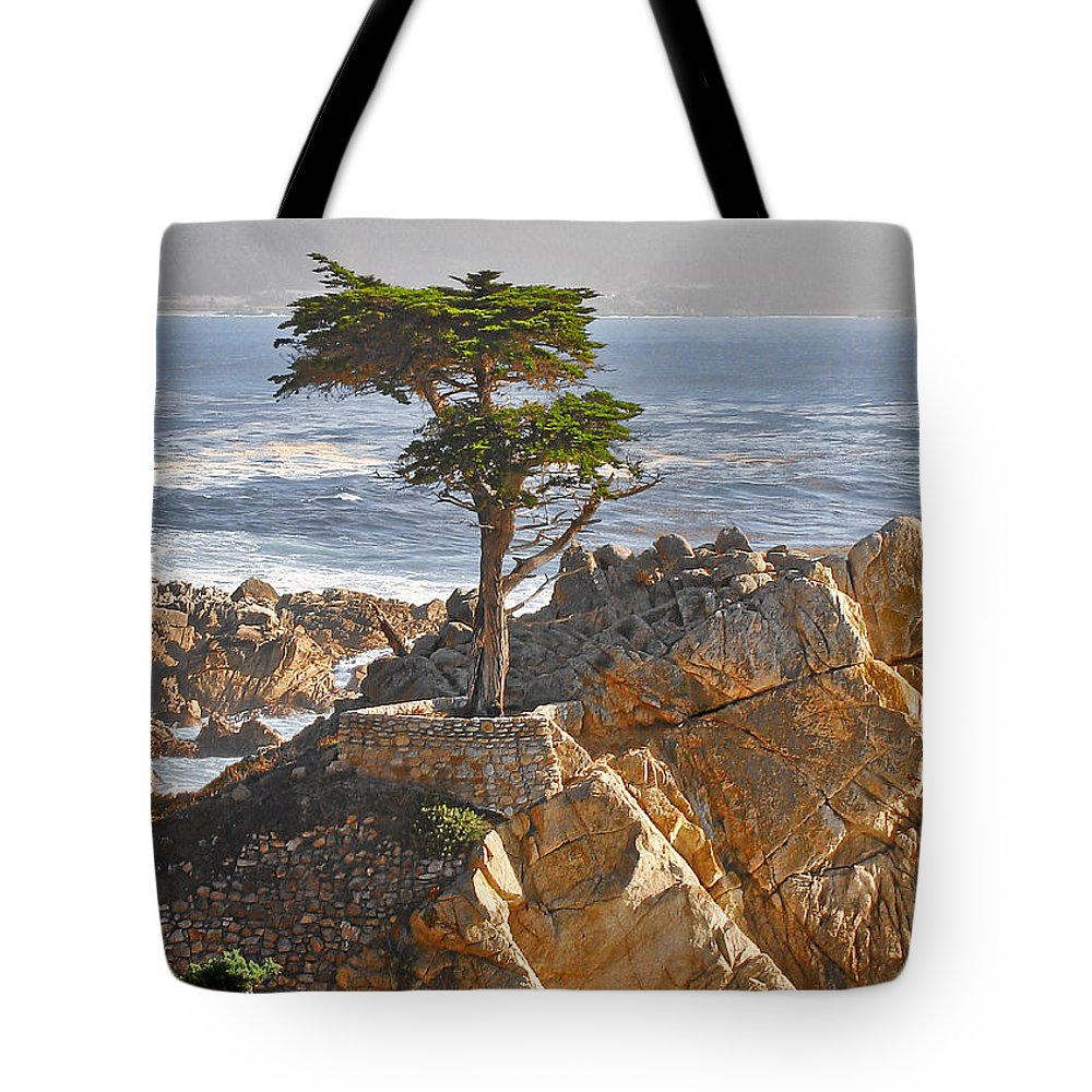 Pine Tote Bag featuring the photograph Lone Cypress - The icon of Pebble Beach California by Christine Till