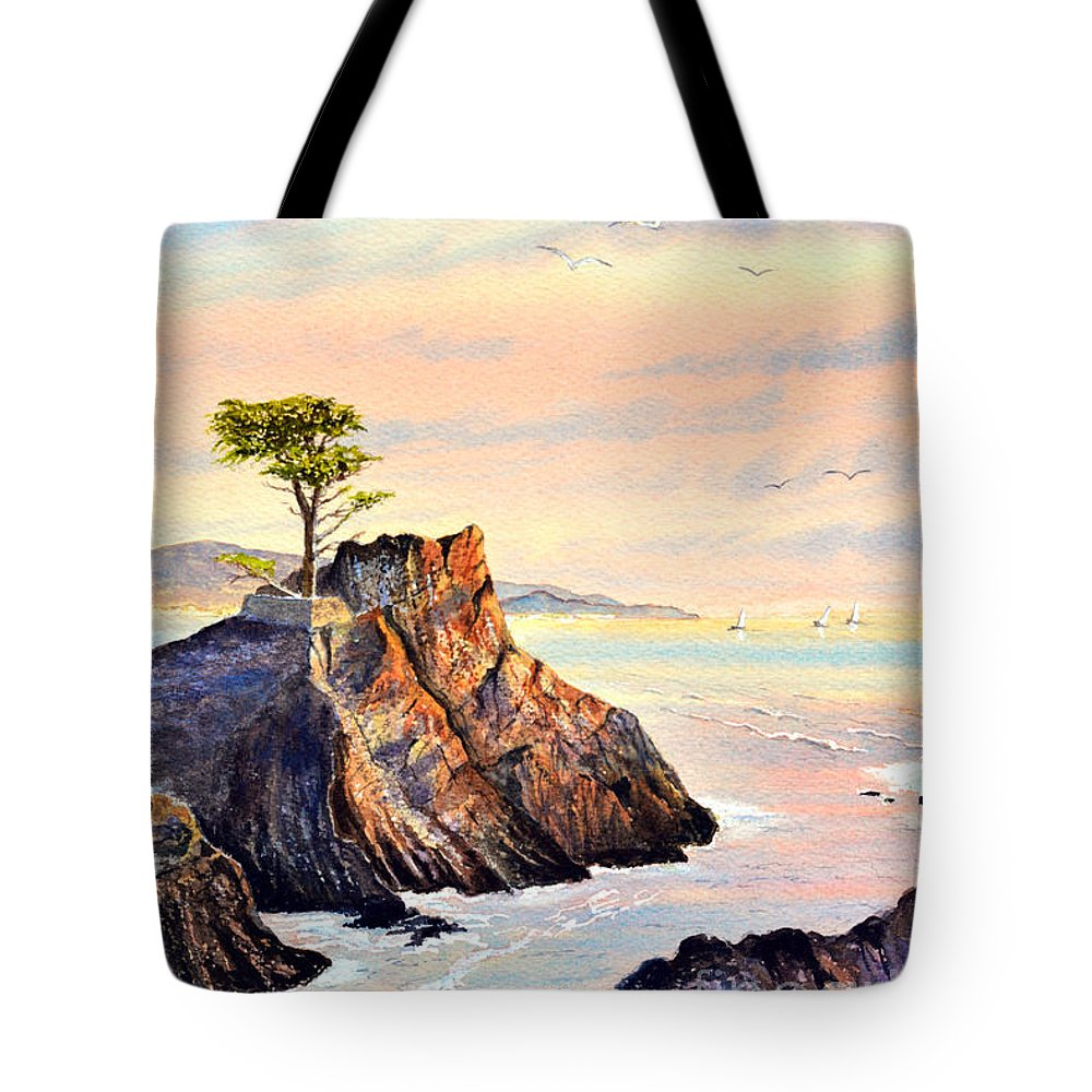 Lone Cypress Tree Tote Bag featuring the painting Lone Cypress Tree Pebble Beach by Bill Holkham