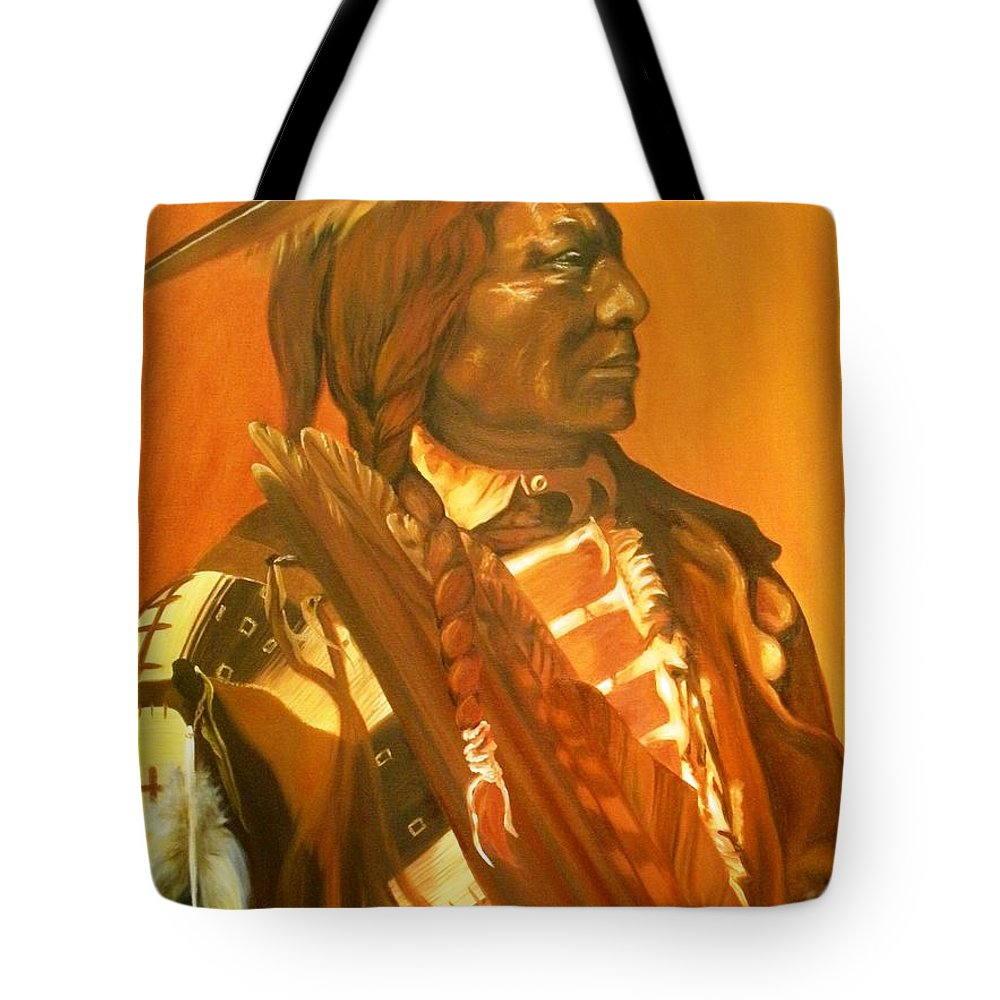 Native American Tote Bag featuring the painting Lone Flag by Annalise Kucan