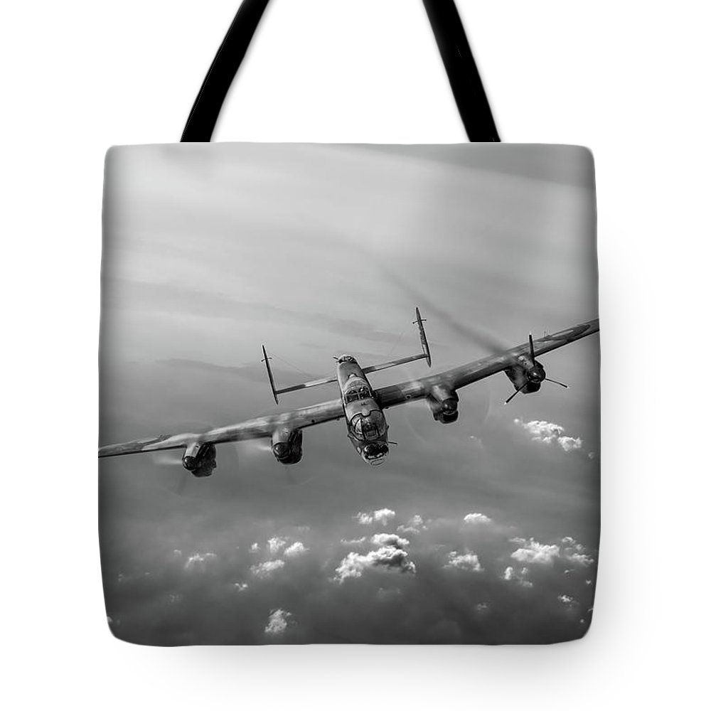 Lancaster Tote Bag featuring the digital art Lone Lancaster Black And White Version by Gary Eason