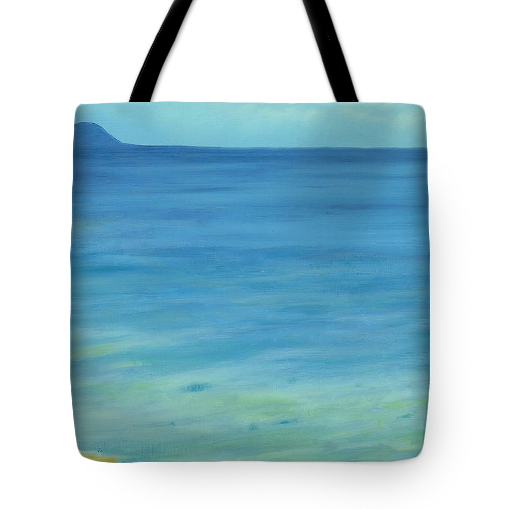 Beach Tote Bag featuring the painting Lone Rock Beach by Victor Ambrosio
