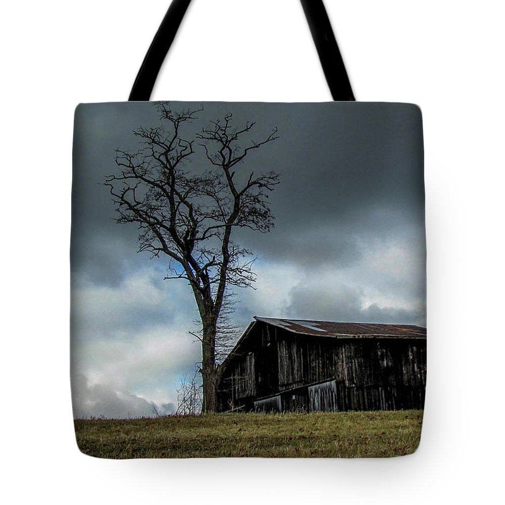 Barn Storm Lonely Landscape Country Tote Bag featuring the photograph Lonely Barn by Judy Baird