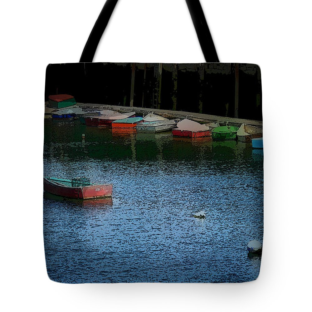 New England Boats Tote Bag featuring the photograph Lonely Boat by Nancie DeMellia